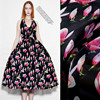 138cm Wide 12mm 100 Mulberry Silk Pink Orchid Print Black Silk Organza Satin Fabric For Summer