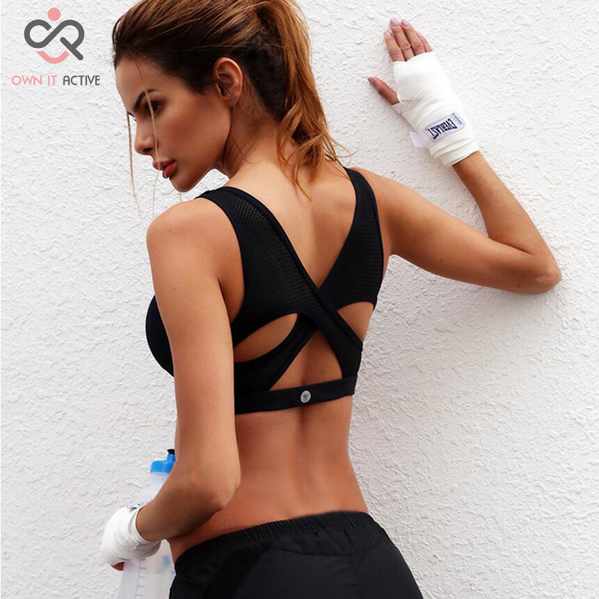 2017 New Women Sports Bra Breathable Fitness Running High Intensity Shock Black Yoga Bras Drop Shipping  P036