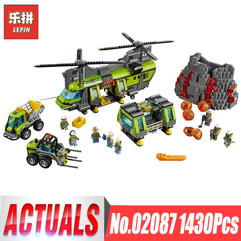 Lepin 02087 City Series The Volcano Heavy-Lift Helicopter Set Compatible legoing 60125 Building Blocks Bricks Gifts for boys hot city volcano heavy lift helicopter building block transporter truck forklift expedition figures bricks 60125 toys for gifts