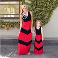 1pc Family Dress Mother Daughter Striped Floral Ankle-Length Family Look Matching Clothes Mom And Daughter Dress Family Clothing