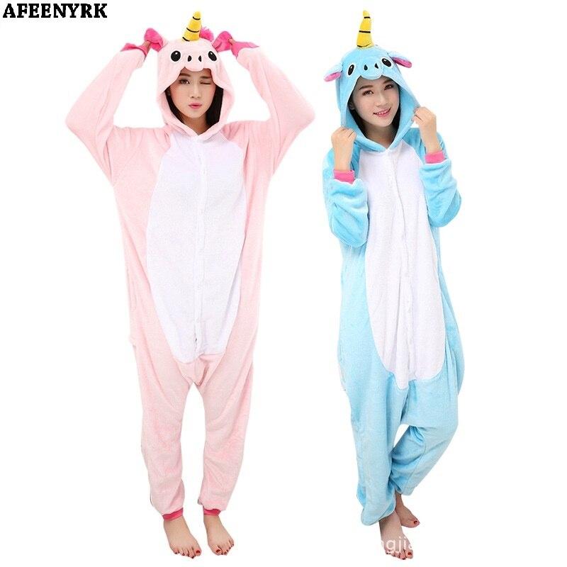 One piece Unisex Pajamas Sets unicornio Stitch Panda Cartoon Sleepwear Cosplay Animal World Onesies for Women Man Winter Pajama