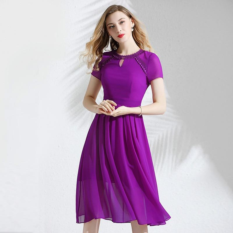 Mousseline de soie robe d'été femmes 2019 nouvelle dentelle col rond manches courtes Slim élégant violet robe plissée sur les genoux M-XXL