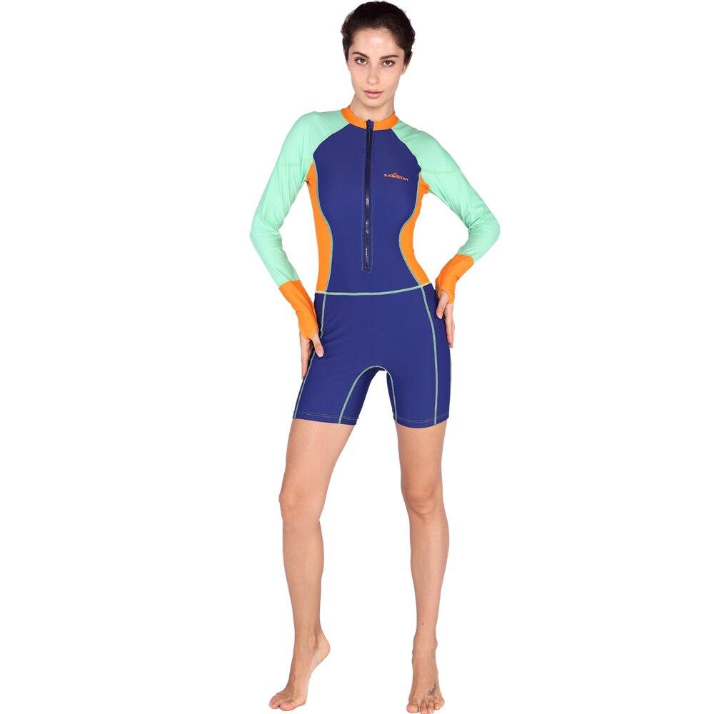 SABOLAY Upf50 lycra rash guard mujeres traje de baño de manga larga traje  de buceo equipo de buceo de una pieza trajes de baño del traje de baño  hasta la ... 0d1cf5682bd