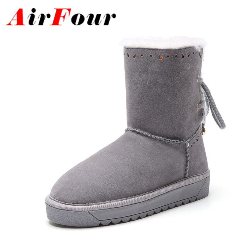ФОТО Airfour New Hlaf Boots Shoes Woman Warm Winter Snow Boots Platform Shoes Mid-calf Boots Large Size 34-43 Round Toe Flats Shoes