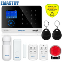 DHL Free Shipping English Russian Spanish French Voice Wireless GSM Alarm System Home Security Alarm Systems