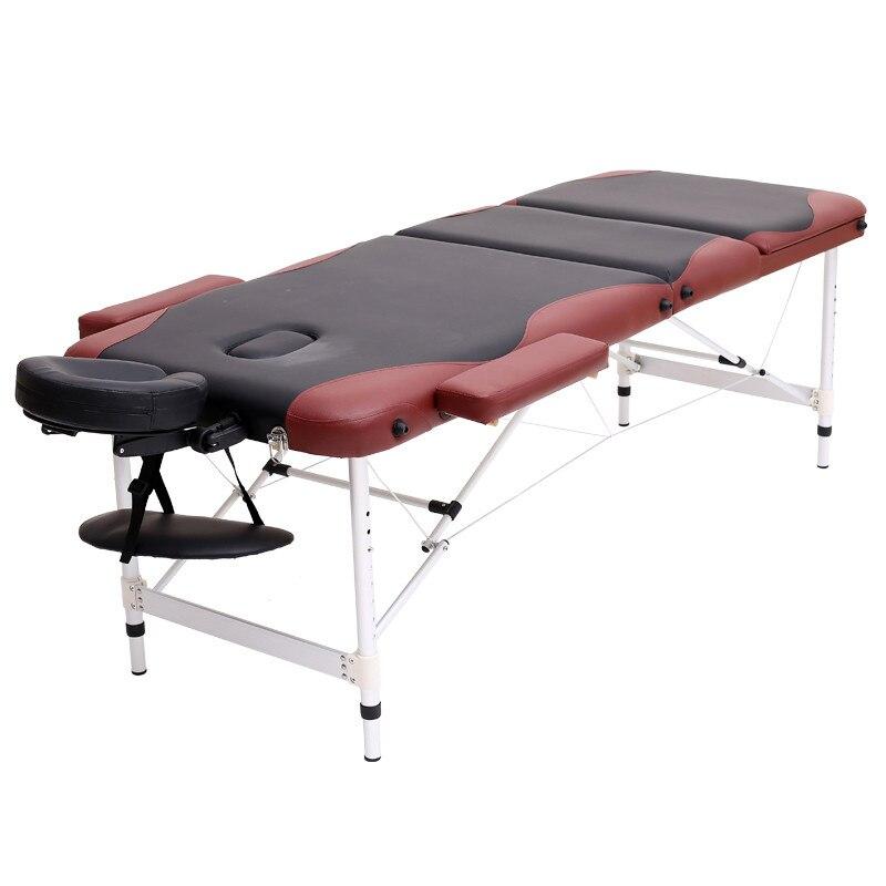 Alluminio 3 Sezione Salone del Mobile In Legno Letto Lettino Portatile Pieghevole Bellezza Del Corpo Del Viso Spa Tattoo Thai Massage Bed