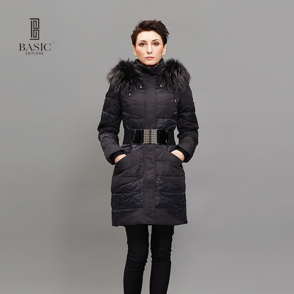 BASIC EDITIONS Womens Winter Jacket Coat Hooded Slim Long Casual Winter Duck Down Coat Women Parkas Large Fur Collar - ZY11086