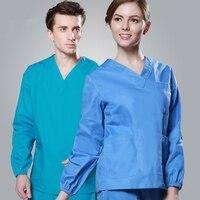 2017 Cheap Long Sleeve Scrubs Uniforms Sets Women and Men Unisex Medical Uniforms Wholesales Scrub Sets Hospital Scrubs Clothes