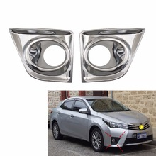 2pcs For Toyota Corolla Altis 2014 2015 2016 Car body head front fog light lamp frame stick styling ABS Chrome cover trim panel