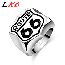 "LKO Mens Signet Rings ""Route 66"" Letters 316L Stainless Steel Anillos Cute Skull Punk Style Party Ring Gothic Jewelry for Man"