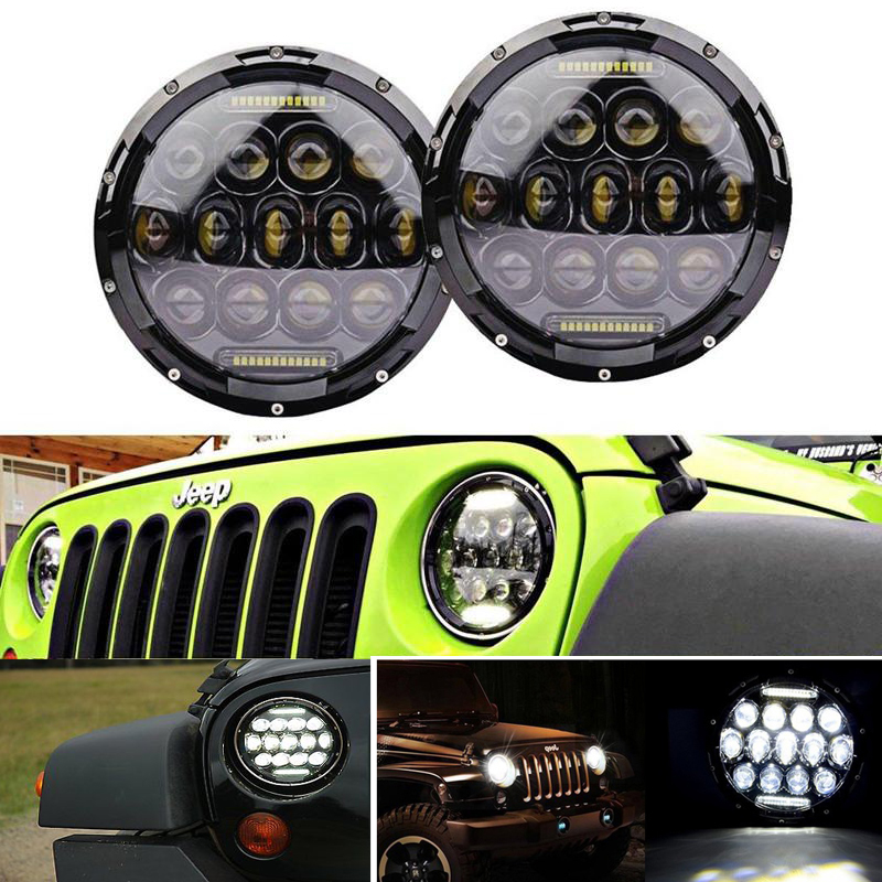 ECAHAYAKU Round 75W 7 Inch Led Headlight Motorcycle For Harley With DRL Hi/Lo Beam 7 Head Lamp For Led Jeep Wrangler Headlights 7 inch round led headlight motorcycle led for jeep wrangler 7 inch 80w headlight round low hi beam headlamp for harley