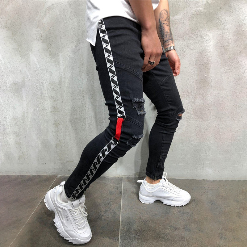 Men jeans webbing hole small feet Slim foot zipper new men's tide 2019 on the new jeans homme skinny jeans men C1303 image