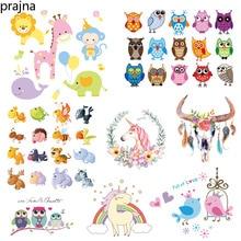 Prajna Kawaii Animals Unicorn Iron on Transfers For Clothing Fabric Baby Kids Applique Badge Hot Vinyl Heat Transfer Stickers