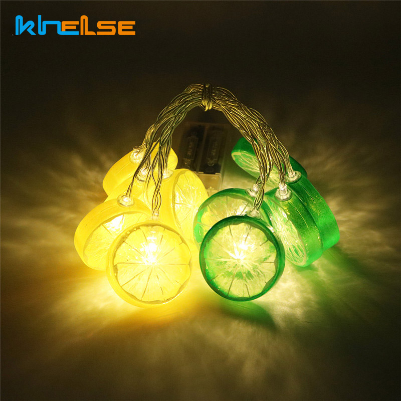 10 Led Lemon String lights Warm White Curtain Bedroom Decorative LED Lights Christmas Halloween Wedding Decoration ...
