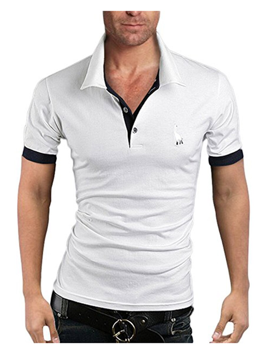 Men's Polo Multi-Color Deer High Quality Cotton Polo Shirt Men's Short Sleeve Slim Business Casual Solid Fit Tops 21
