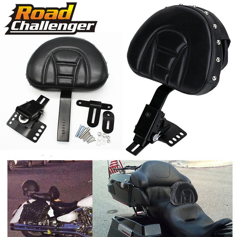 Adjustable New Plug In Driver Rider Seat Backrest Kit Motorcycle For Harley Touring Electra Road Street Glide Road King 97-15