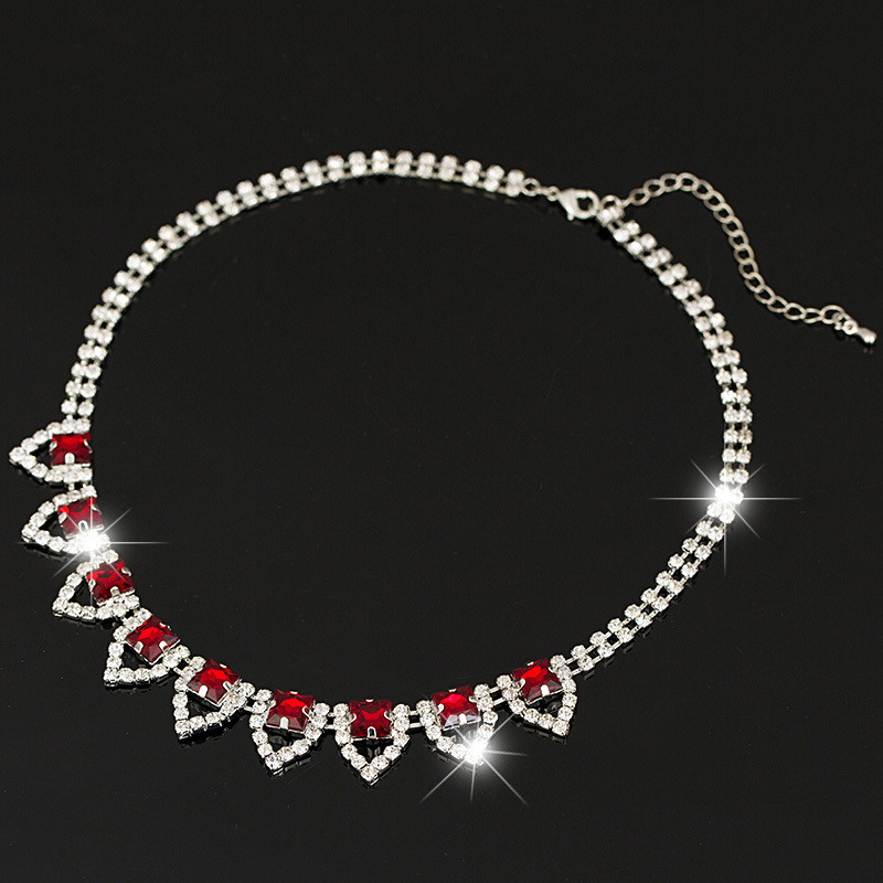 Brand Jewelry red Crystal Glass Necklaces & Pendants Choker Chunky Statement Necklace 2016 Fashion Necklaces For Women #N035 image