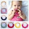 5 pcs Doce Cor de madeira Natural anéis Anel Anel de Dentição Do Bebê de Crochê Enfermagem dentição Colar Encantos 70mm