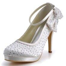 D-EP2012-PF Weiß Frauen High Heel Party Strass Schnalle Plattformen Braut Hochzeit Schuhe