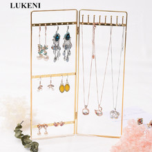 Gold Jewelry Organizer Earring Necklace Storage Design Nice Jewelry Hanging Holder Rack Fashion Foldable Gold Jewelry Organizer