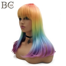 BCHR 18Inch Rainbow Color Straight Wig for Women Synthetic Wig with Flat Bang Cosplay Wig Free Shipping vogue full bang medium straight synthetic charming offbeat rainbow capless wig for women