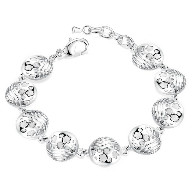 Matt Silver Crystal Daisy Flower Pattern Bracelet Chain jCIegumv
