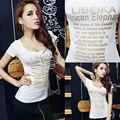 De alta Calidad de Algodón Modal Sexy Camiseta de Las Mujeres de corte Bajo Apretado Rhinestone de Las Señoras T-shirt Mujeres Exiquisite Personal Fashion Tees