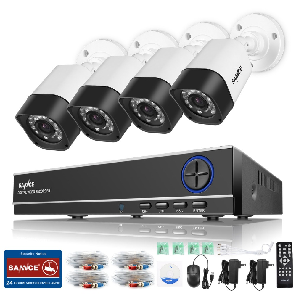 SANNCE 8CH AHD 720P CCTV System 1080N DVR 4pcs 720P 1280TVL Security Cameras IR night Vision Home Surveillance Kits sannce hd 4ch cctv system hdmi ahd dvr kit 720p outdoor security waterproof night vision surveillance kits with 4 cameras 1tb