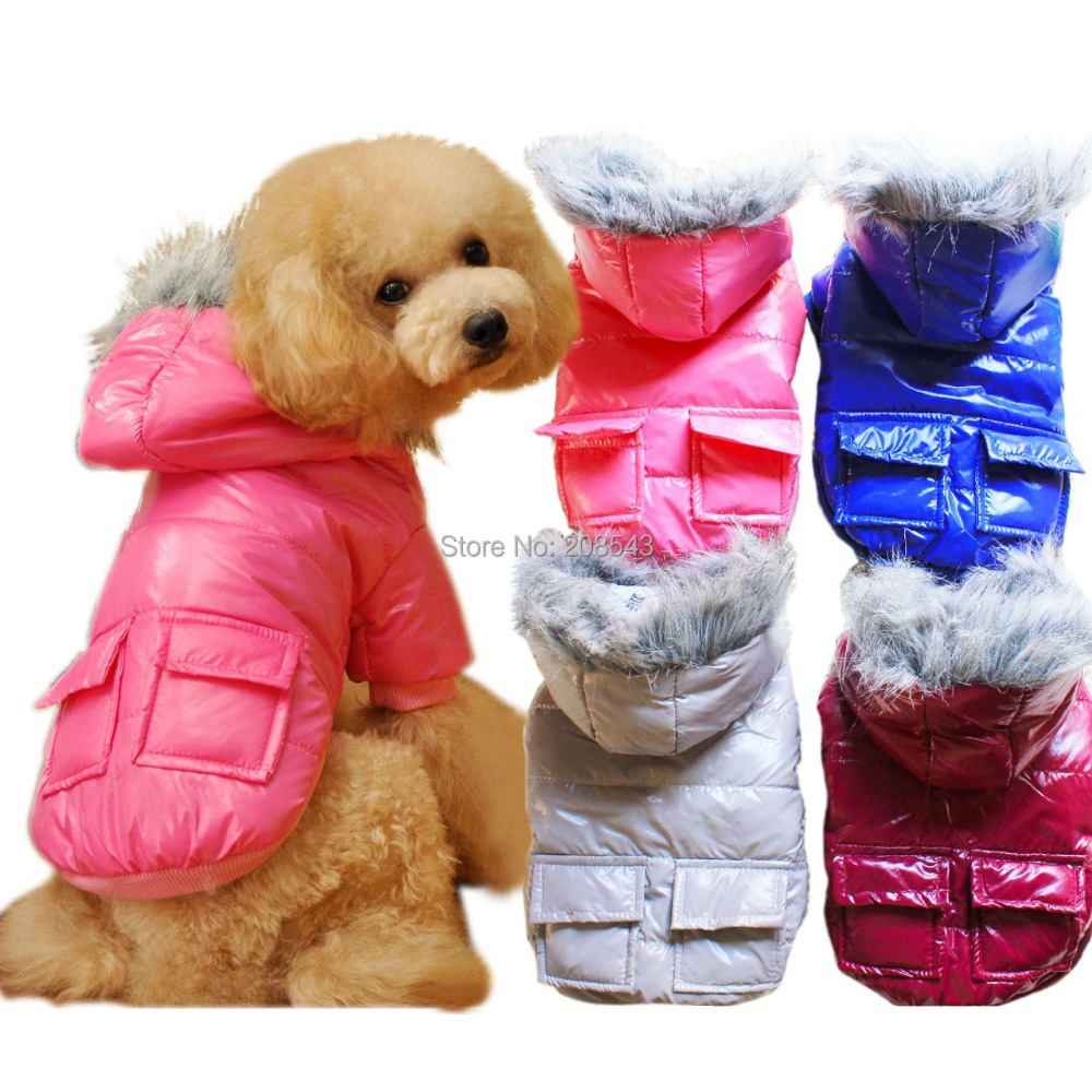 Hoodie Thicken Dog Clothes Winter Down Jackets Patchwork Coat Pet Clothes S,M,L,XL,XXL Dog Clothing Free Shipping
