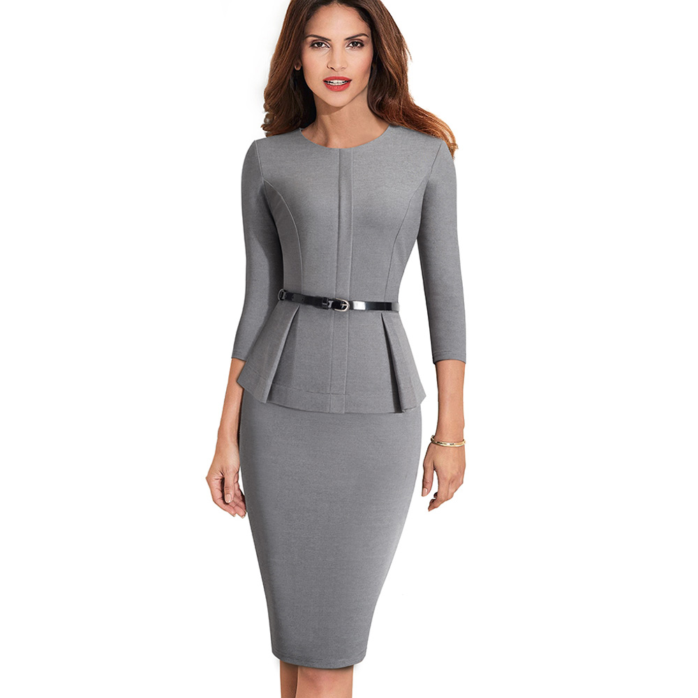 Nice-forever Vintage Elegant Wear to Work with Belt Peplum vestidos Business Party Bodycon Office Career Women Dress B473 6