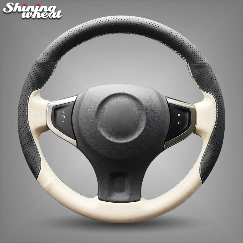 Shining wheat Black Holes Beige Leather Leather Car Steering Wheel Cover for Renault Koleos 2009-2014 shining wheat black genuine leather car steering wheel cover for fiat bravo 2007 2011