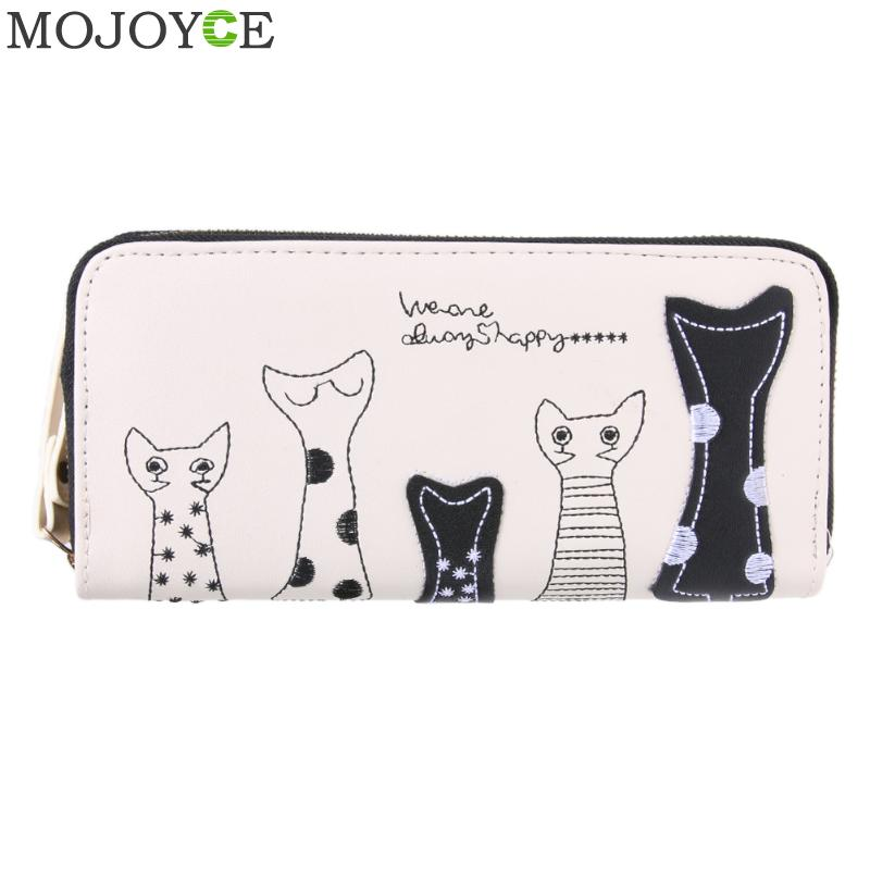 Cute Women Cat Cartoon Wallet Long Female PU Leather Purse Card Holder Casual Zip Ladies Clutch Wallet Coin Purse ID Holder New