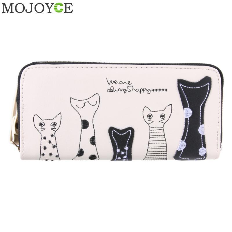 Cute Women Cat Cartoon Wallet Long Female PU Leather Purse Card Holder Casual Zip Ladies Clutch Wallet Coin Purse ID Holder New