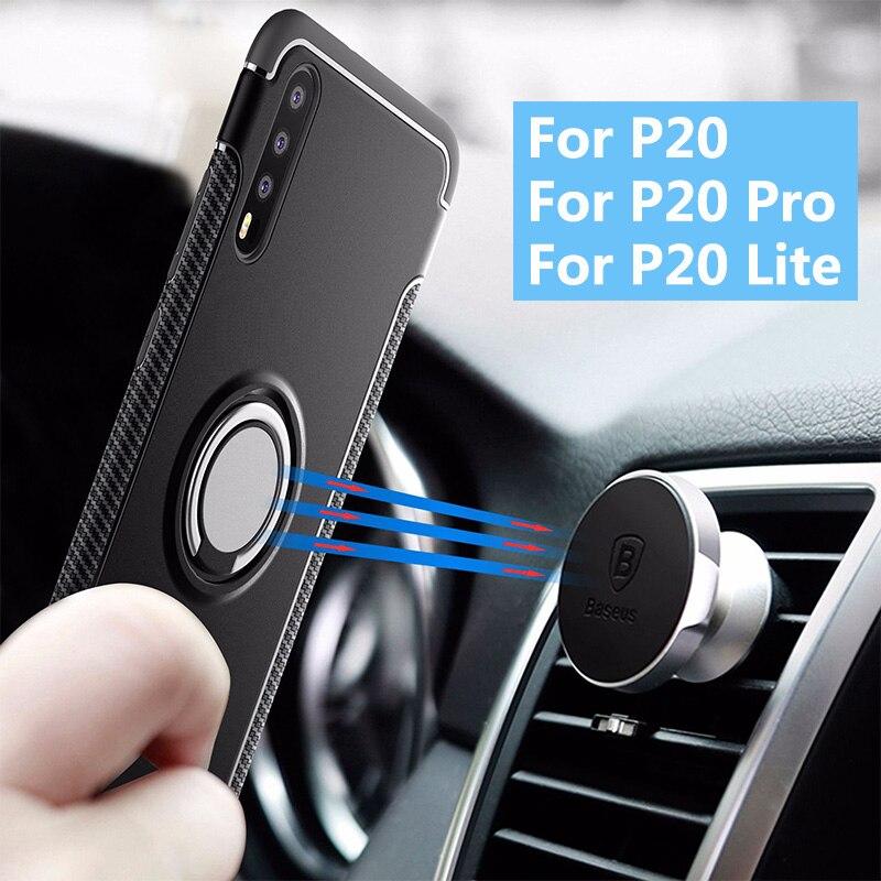 Car Holder Case for Huawei P20 Pro P20 Lite P20 Ring 360 Degree Rotation Holder Hybrid Shockproof Phone Case Cover