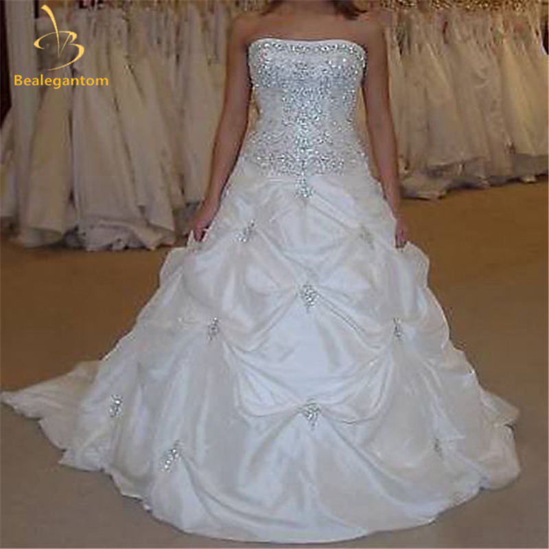 Bealegantom High Quality Cheap Sexy Wedding Dresses 2019 Appliques Taffeta Beaded Bridal Gowns Robe De Mariage Stock 2-16 QA1003