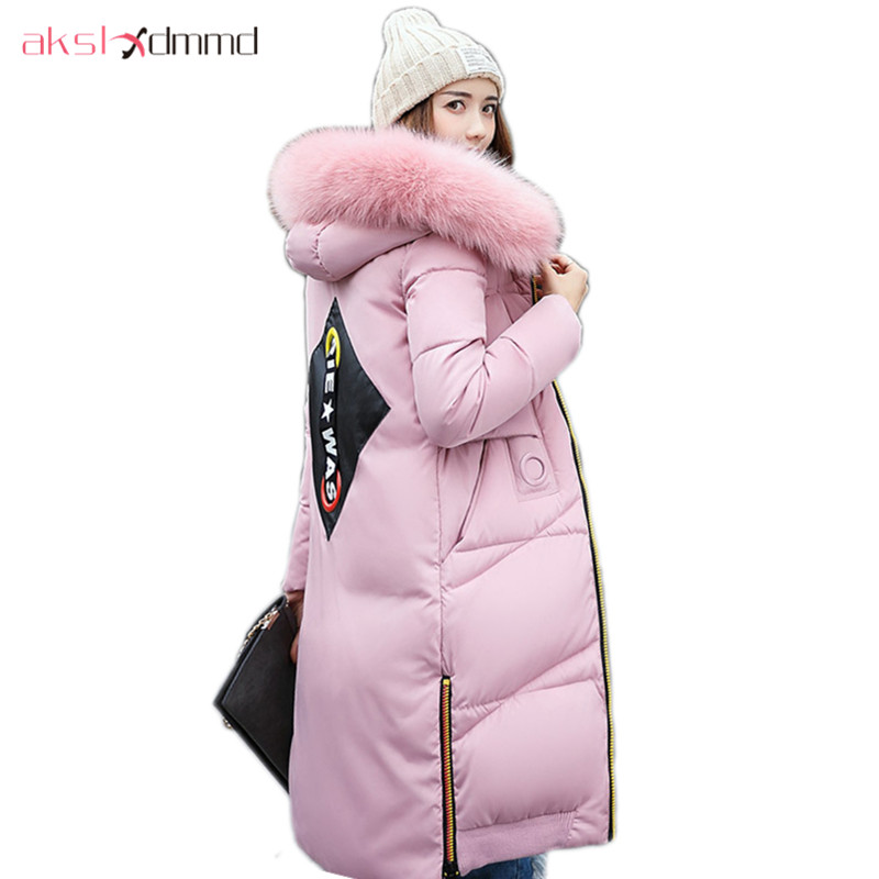 AKSLXDMMD Parkas Mujer Back Printed Thick Witner Women Jacket 2017 New Fashion Slim Fur Collar Hoodies Long Coat Female LH1065 akslxdmmd women winter jacket 2017 new female jacekt fashion hooded printed letters thick padded woman coat parkas mujer lh1066