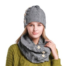 015c65f904861 2Pcs Winter Cap And Scarf Set Women Warm Winter Beanies Fashion Set Women  Hat Scarf Hat