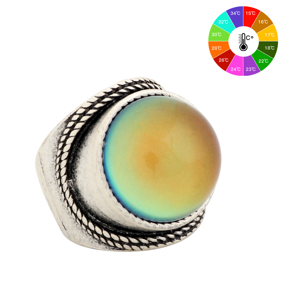 Mojo Vintage Bohemia Retro Color Change Mood Ring Emotion Feeling Ring cambiable Anillo de control de temperatura para mujeres MJ-RS045