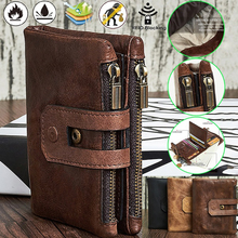 Men Genuine Leather Wallet Male Purse Card Holder Wallet Fashion  Zipper Wallet Coin Bag
