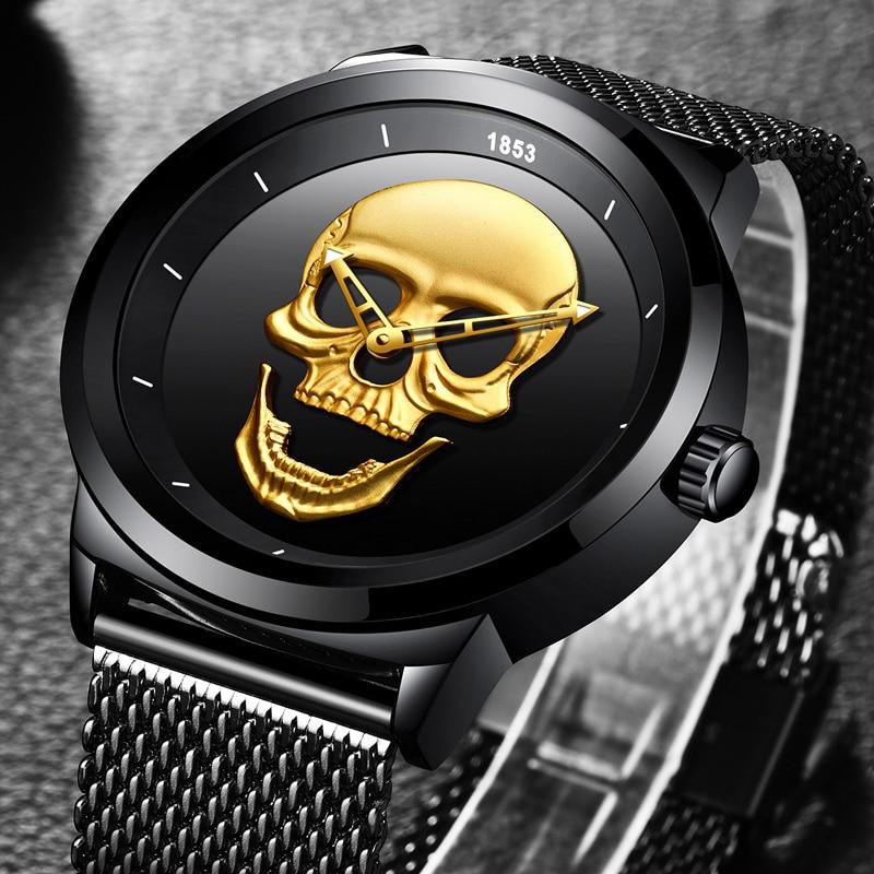 511ec6ee695 LIGE Men Watches 2018 New Creativity Fashion Top Luxury Brand Watch Men  Skull Style Full Steel