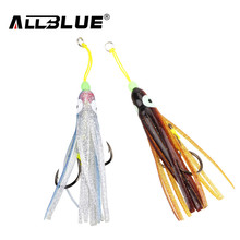 ALLBLUE 2pcs/lot Squid Lure Jigging Spoon Fishing Hook With PE Line Saltwater Octopus Jig Assist Fishhook For Sea Fishing Tackle