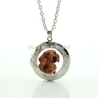 Wholesale charms jewelry Simple design jewelry Beagle necklace cute pet dog jewelry dog picture locket pendant N 971