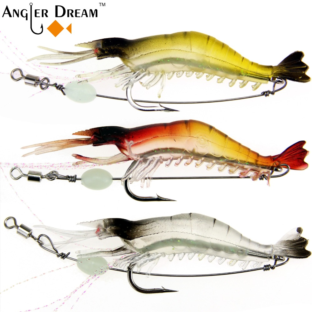 Silicone Soft Bait 8.5cm 6g Fishing Luminou Shrimp Prawn Lure Saltwater Squid Night Glow 3color White Yellow Red Artificial Bait 1set 10pcs soft silicone fishing lure bait freshwater saltwater