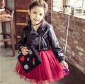 2017 New Girl Princess Leather Dress Party Dress tutu veil red sequined dress Diamond Kids Clothes Birthday wedding