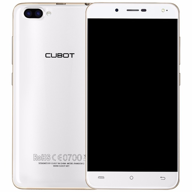 CUBOT Rainbow 2 5.0 Inch HD Android 7.0 Smartphone MTK6580A Quad Core Cell Phone 1GB RAM+16GB ROM Rear Dual Cameras Mobile Phone