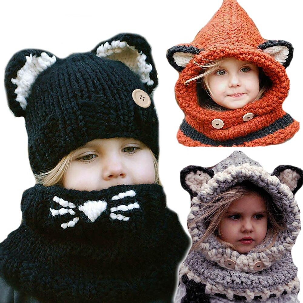 Bébé Enfants Mignon Fox Oreille Écharpe Tricoté Chapeaux Châle Chaud Caps Hiver  Enfants Beanie 714fcb5faea
