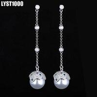 LYST1000 Fine Jewelry Fashion 925 Sterling Silver Stud Earrings For Women Pearl Tassels Long Earring Wedding