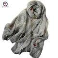 2016 Новые Моды для женщин шелковый Шарф цветы embroid retangle шаль Марка шарф шали Женщин Шарфы женщины шарфы дамы обертывания