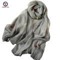 2016 Nuevas mujeres de La Moda Bufanda de seda flores embroid retangle chal Marca chales bufanda Mujer Bufandas mujer bufandas ladies wraps