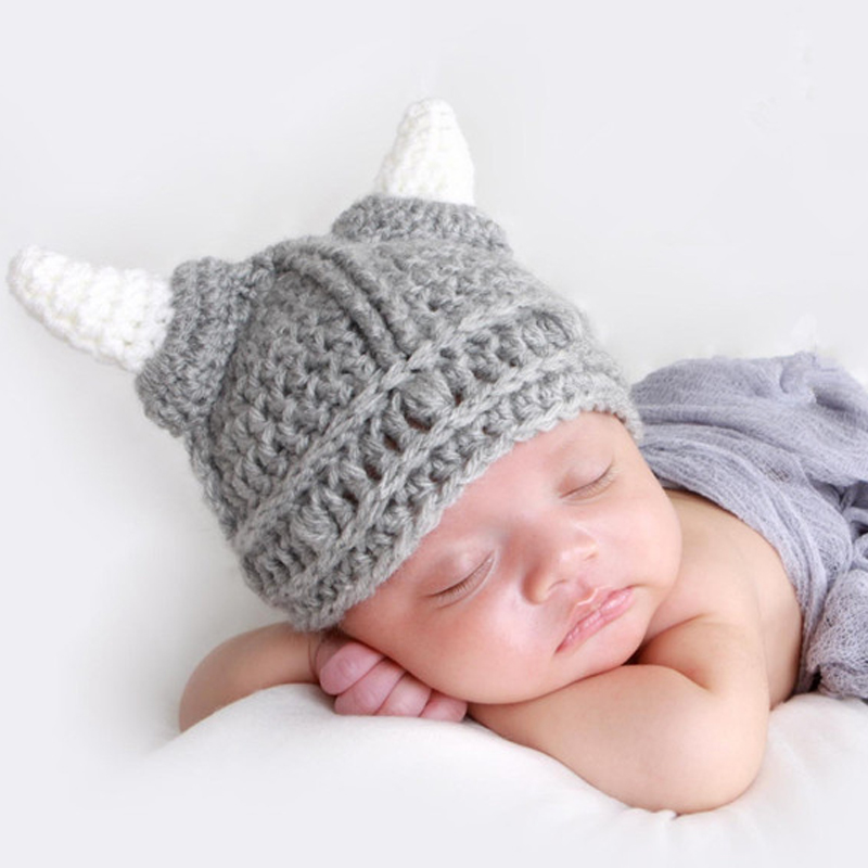 Handmade Newborn Baby Boys Girls Vikings Hat Helmet With Horns